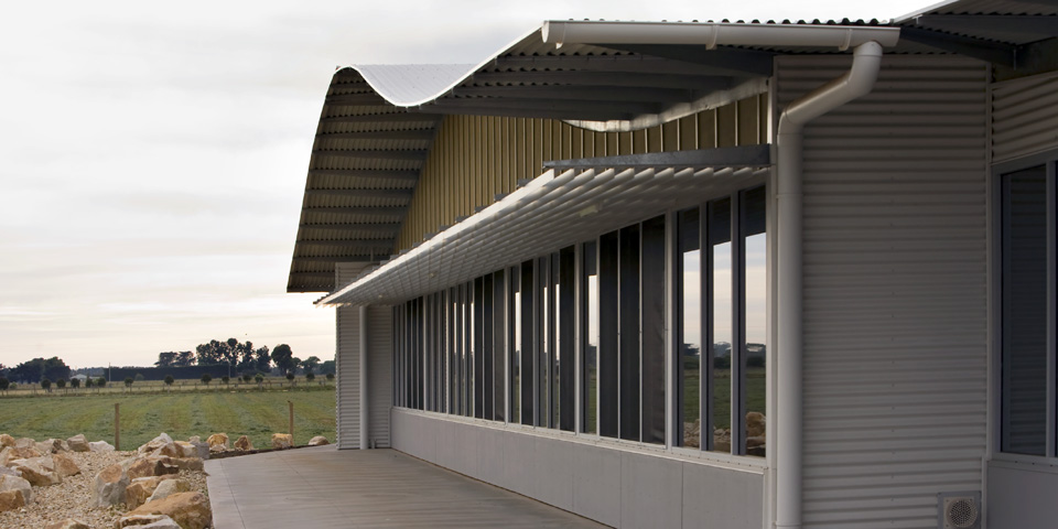 The undulating roof line can been seen from most of the exterior