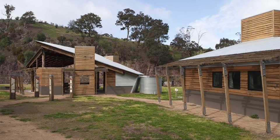 The material palette evokes historic Australian construction