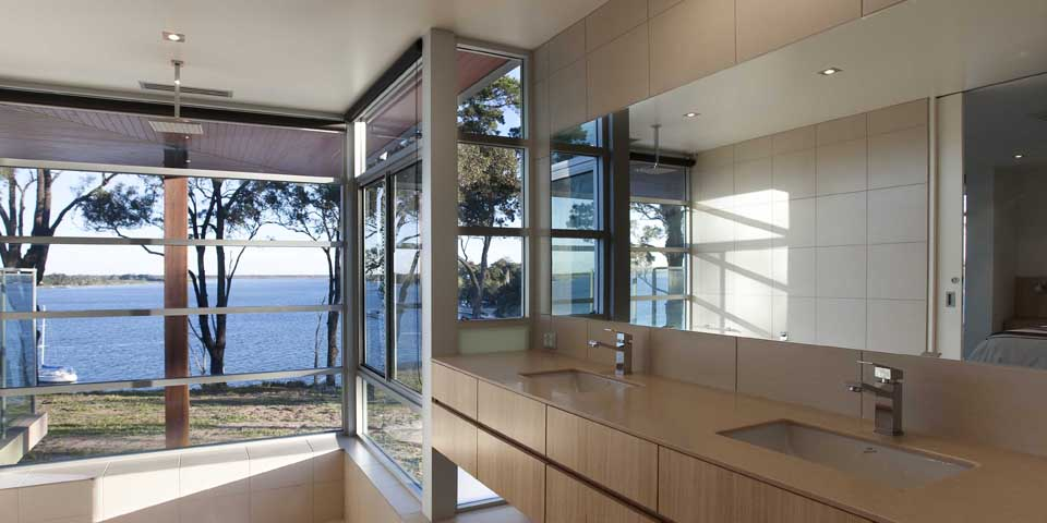 The interior maximises views to Bancroft Bay