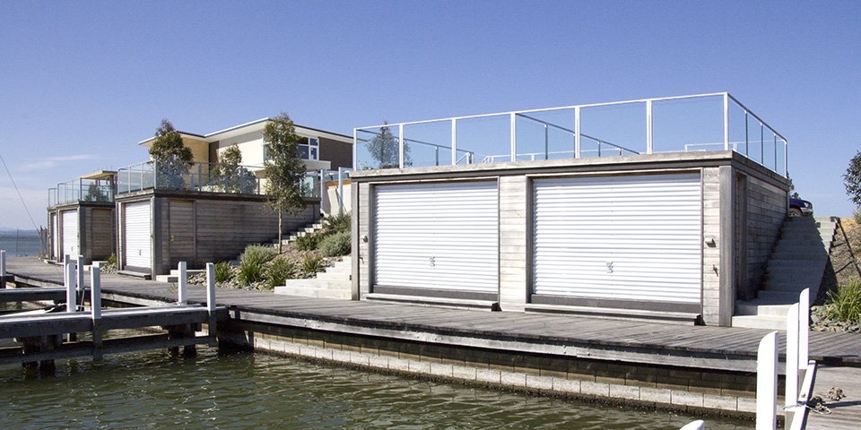 the boathouses have an entertaining area on the roof