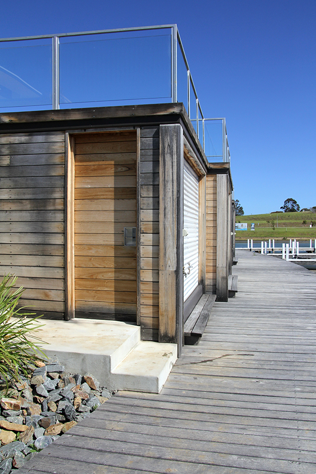 concrete timber boathouse and paynesville have been allowed to weather baturally to produce an interesting patina