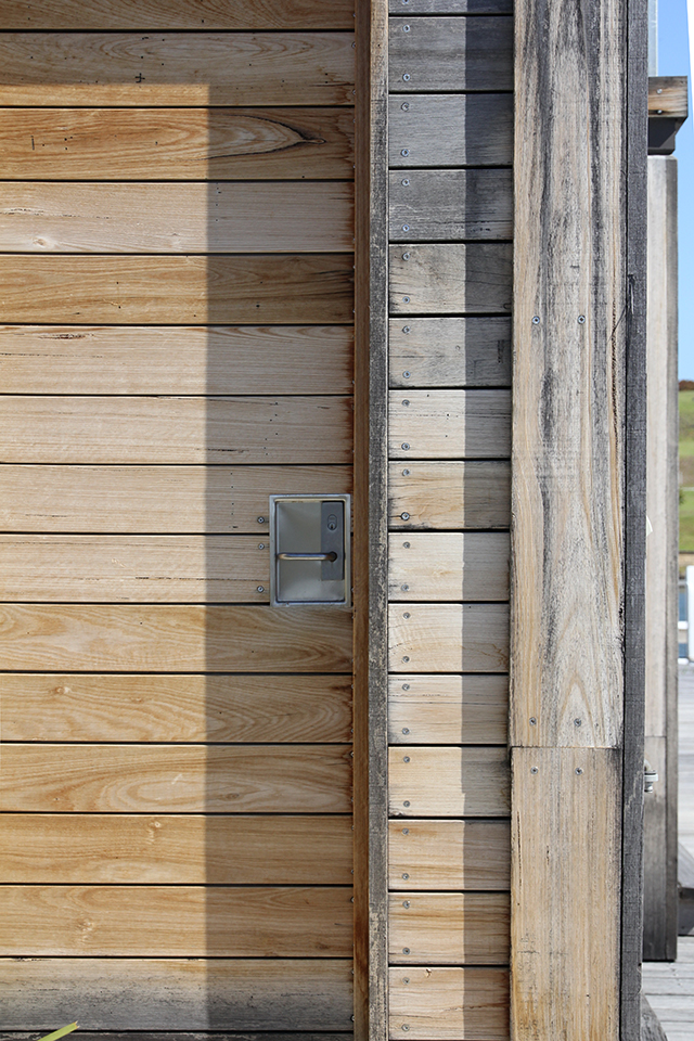 timber boathouse detail in paynesville
