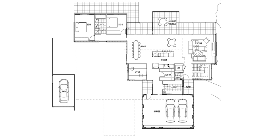 The first floor plan of this Tinamba house contains the bedrooms and secondary living areas.